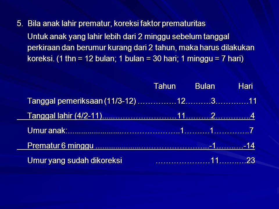 5. Bila anak lahir prematur, koreksi faktor prematuritas