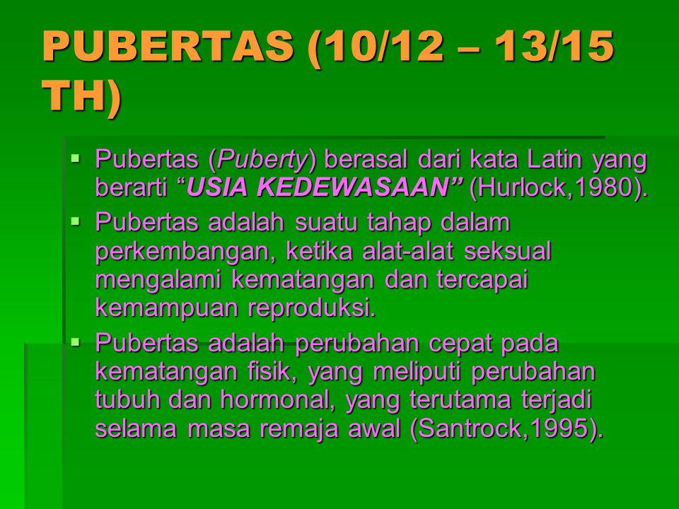 PUBERTAS (10/12 – 13/15 TH) Pubertas (Puberty) berasal dari kata Latin yang berarti USIA KEDEWASAAN (Hurlock,1980).