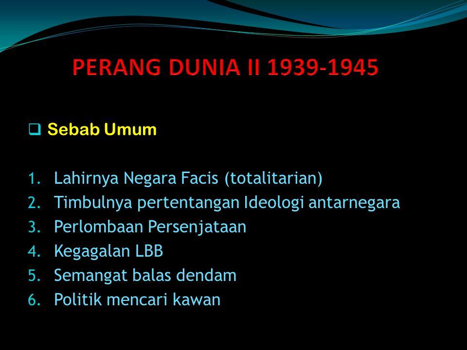 PERANG DUNIA II 1939-1945 Sebab Umum