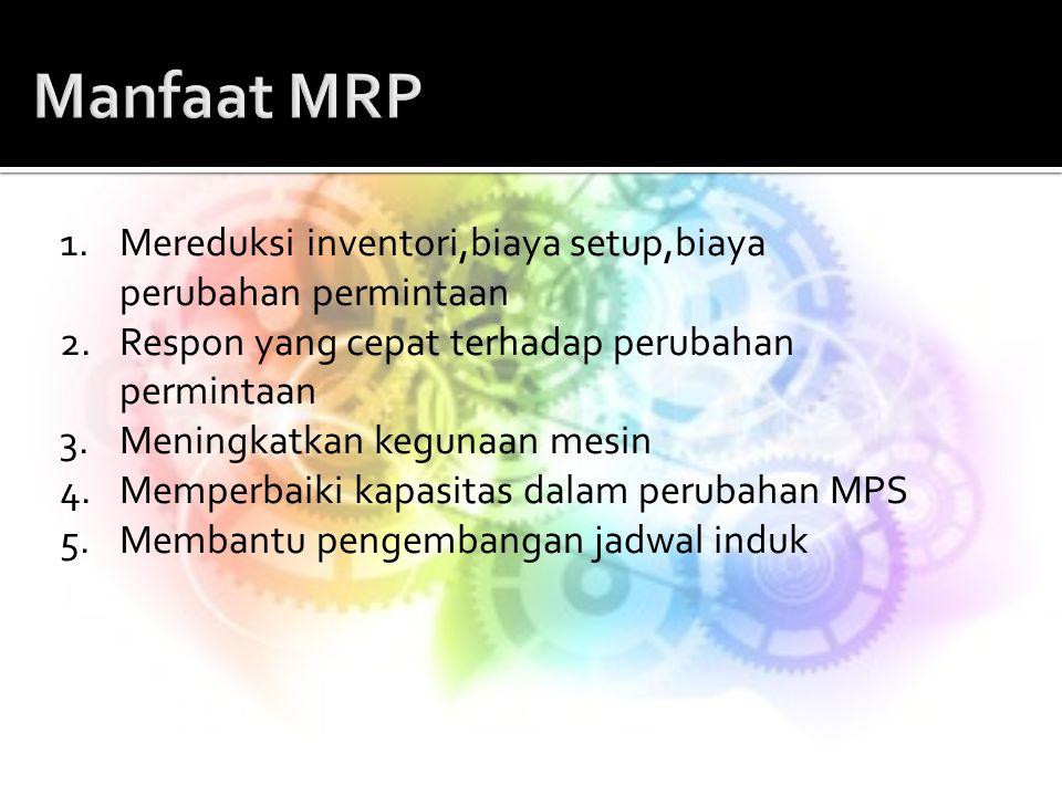 Manfaat MRP 1. Mereduksi inventori,biaya setup,biaya