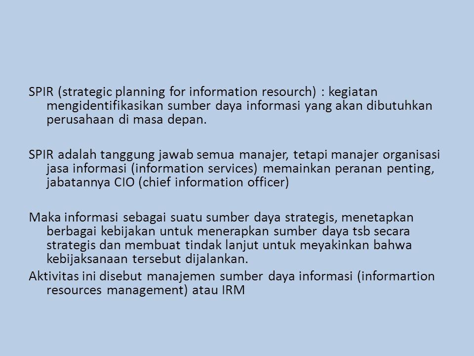 SPIR (strategic planning for information resourch) : kegiatan mengidentifikasikan sumber daya informasi yang akan dibutuhkan perusahaan di masa depan.