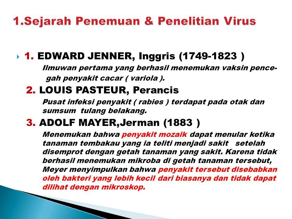 1.Sejarah Penemuan & Penelitian Virus