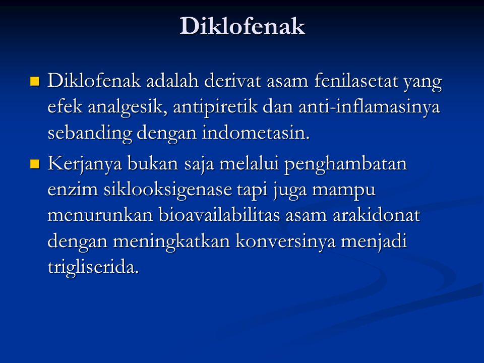 Diklofenak Diklofenak adalah derivat asam fenilasetat yang efek analgesik, antipiretik dan anti-inflamasinya sebanding dengan indometasin.