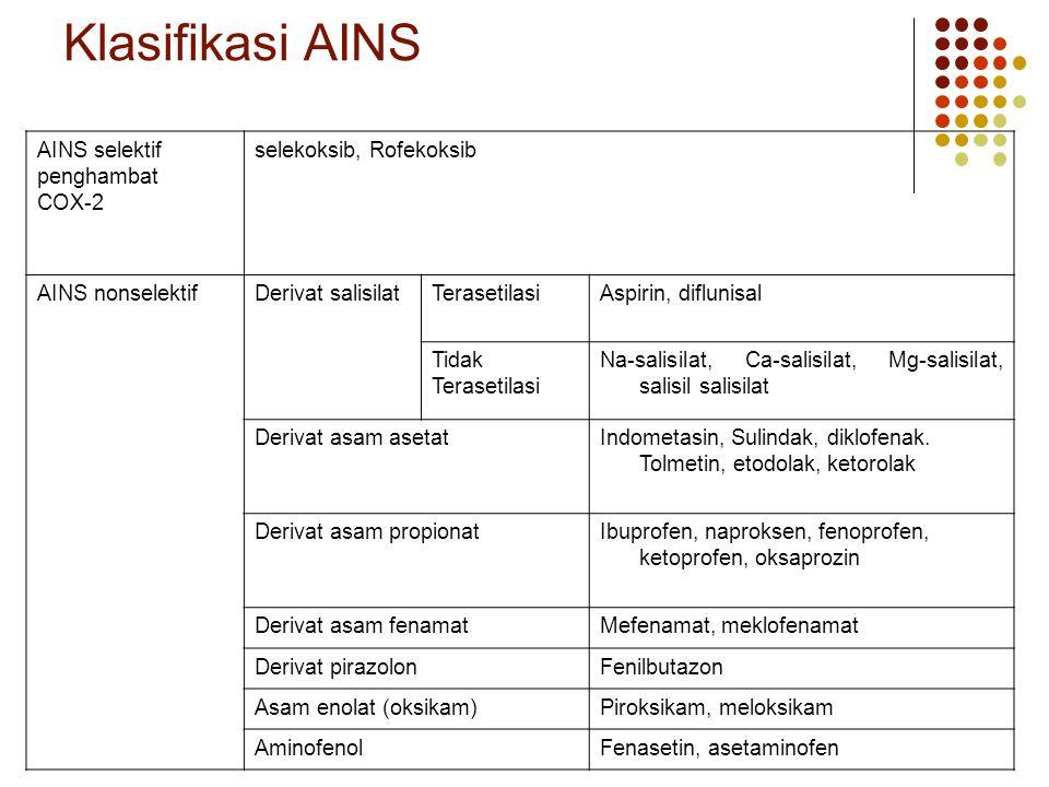 Klasifikasi AINS AINS selektif penghambat COX-2 selekoksib, Rofekoksib