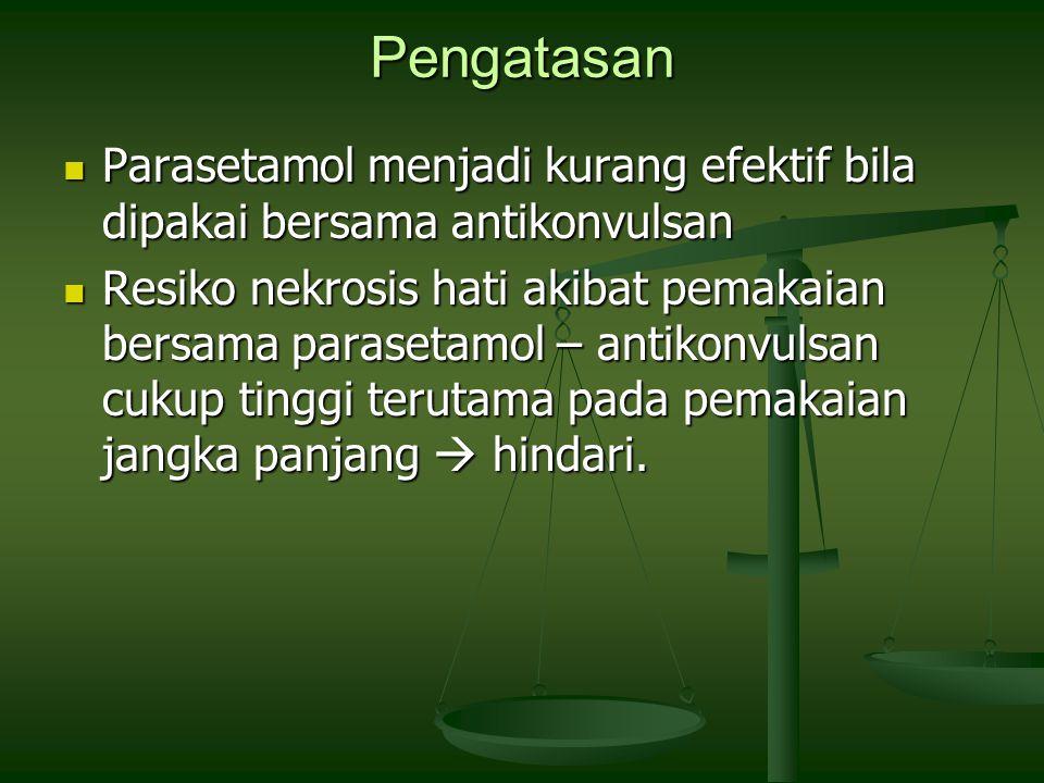Pengatasan Parasetamol menjadi kurang efektif bila dipakai bersama antikonvulsan.