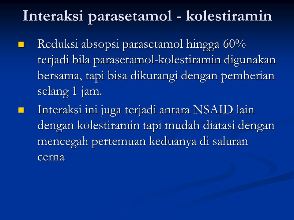 Interaksi parasetamol - kolestiramin