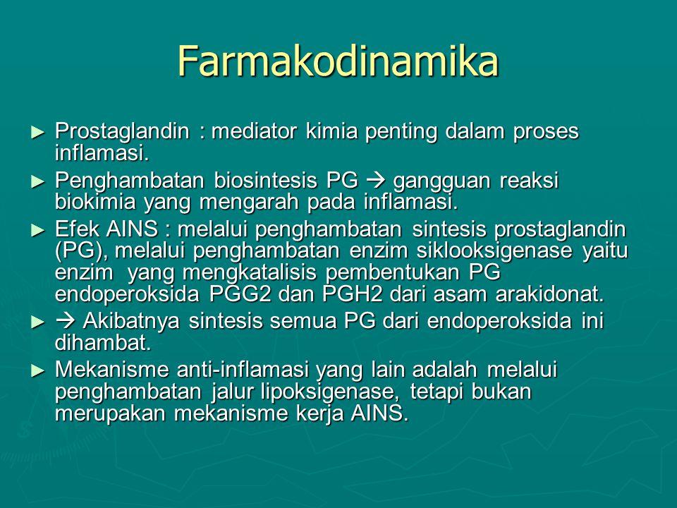 Farmakodinamika Prostaglandin : mediator kimia penting dalam proses inflamasi.