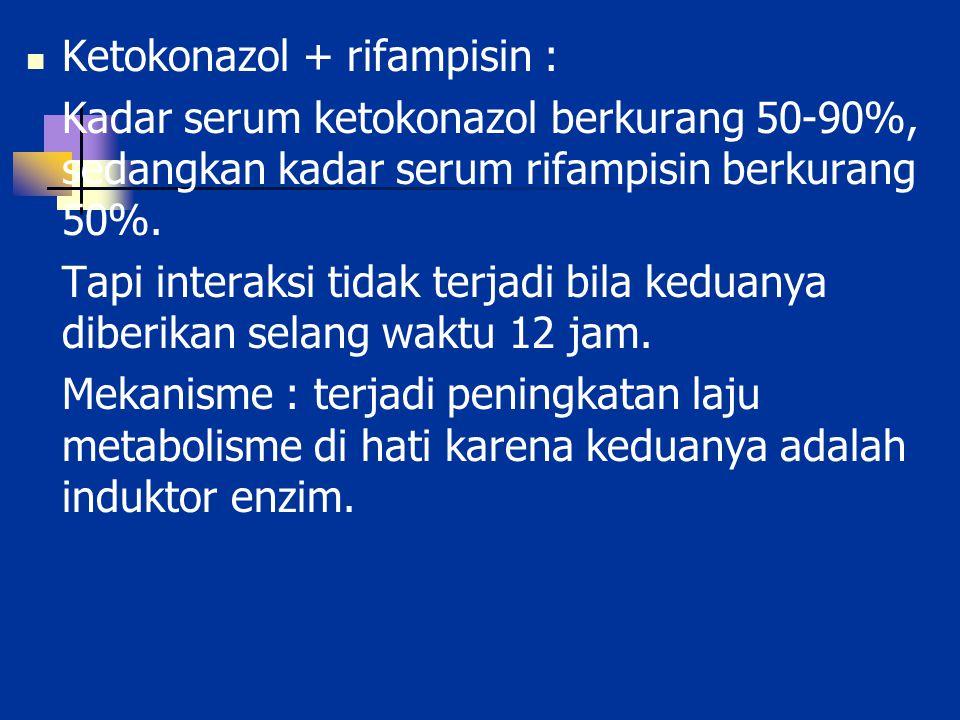 Ketokonazol + rifampisin :