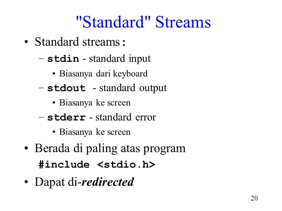 Standard Streams Standard streams: Berada di paling atas program