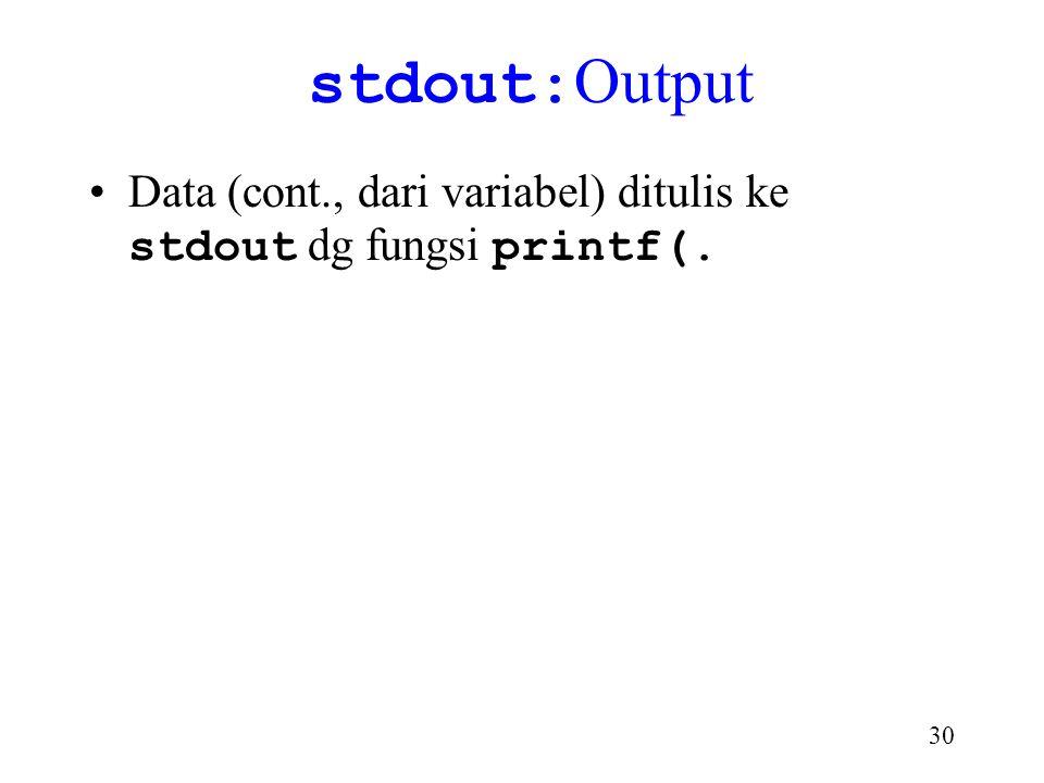 stdout:Output Data (cont., dari variabel) ditulis ke stdout dg fungsi printf(.