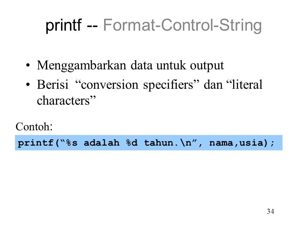 printf -- Format-Control-String