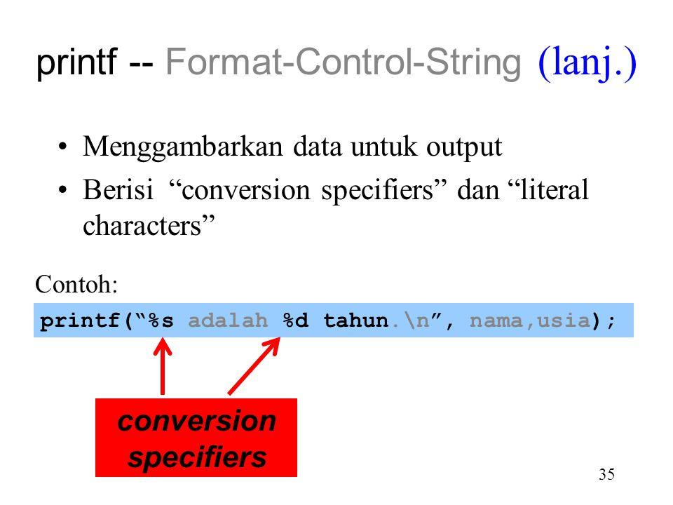 printf -- Format-Control-String (lanj.)