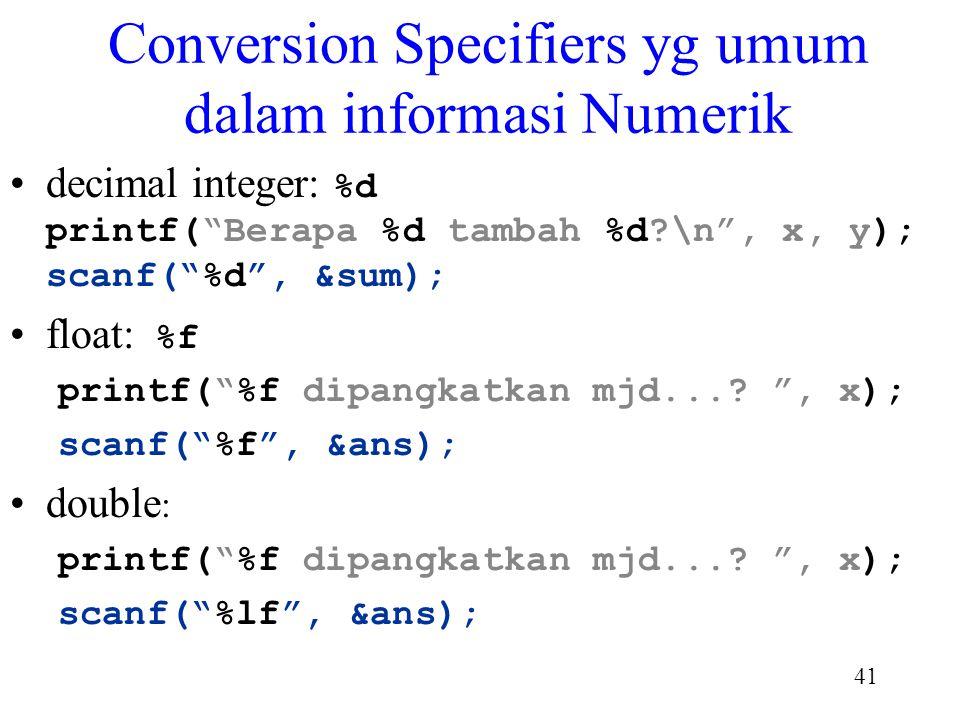 Conversion Specifiers yg umum dalam informasi Numerik