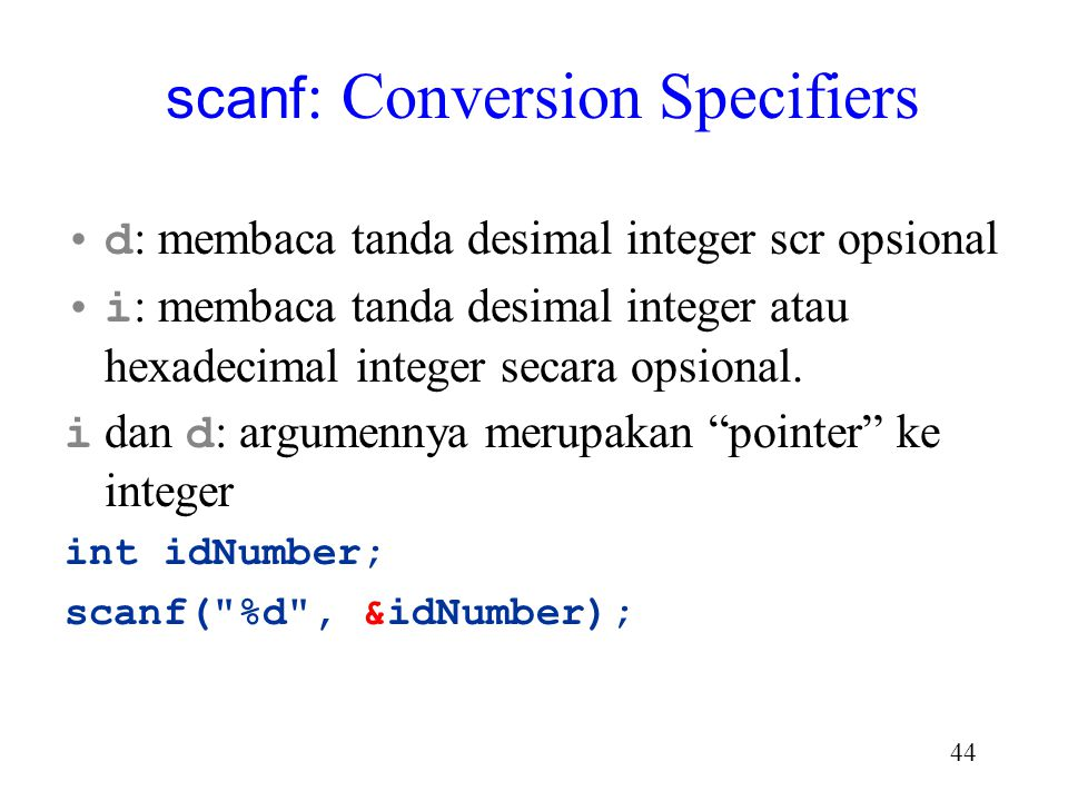 scanf: Conversion Specifiers