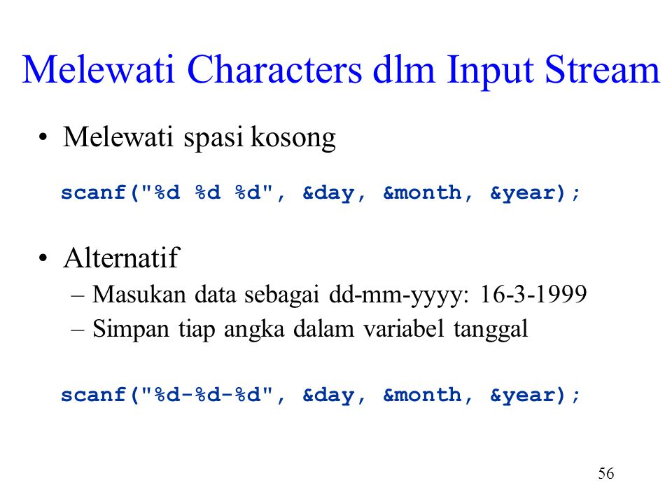 Melewati Characters dlm Input Stream