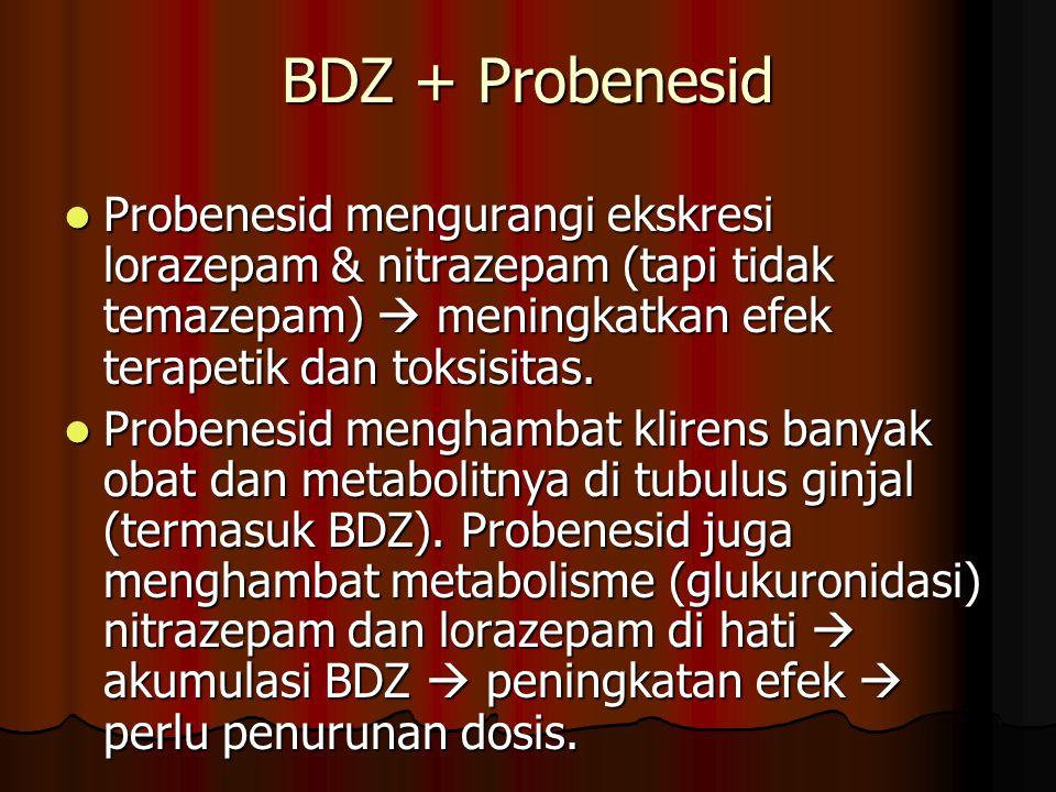 BDZ + Probenesid Probenesid mengurangi ekskresi lorazepam & nitrazepam (tapi tidak temazepam)  meningkatkan efek terapetik dan toksisitas.