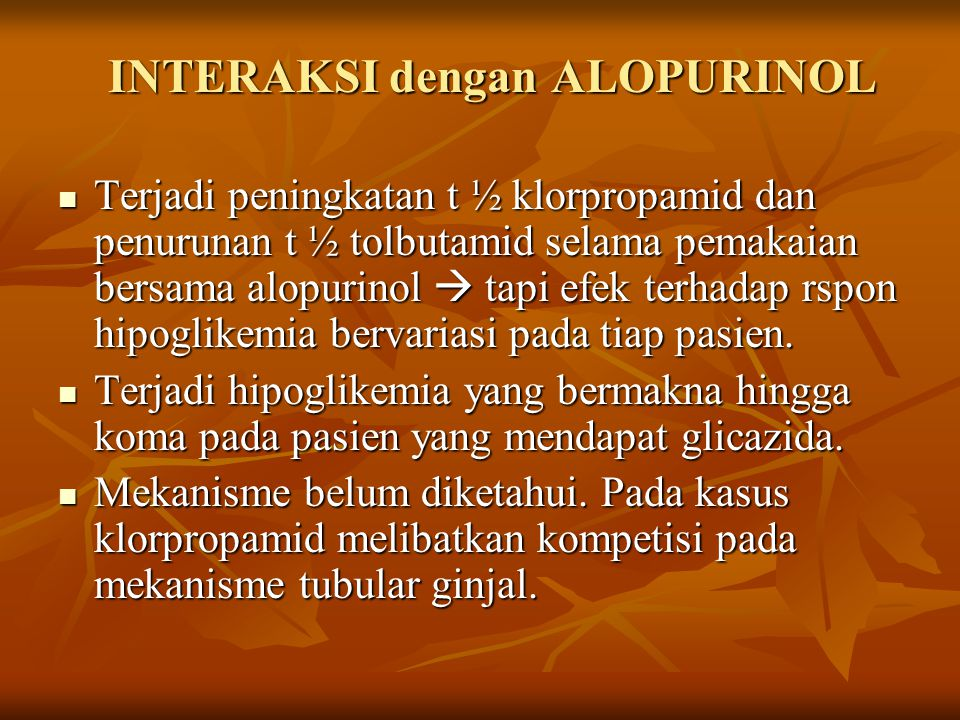 INTERAKSI dengan ALOPURINOL