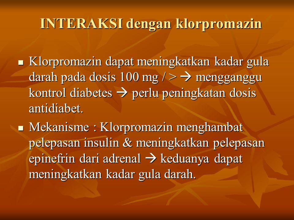 INTERAKSI dengan klorpromazin
