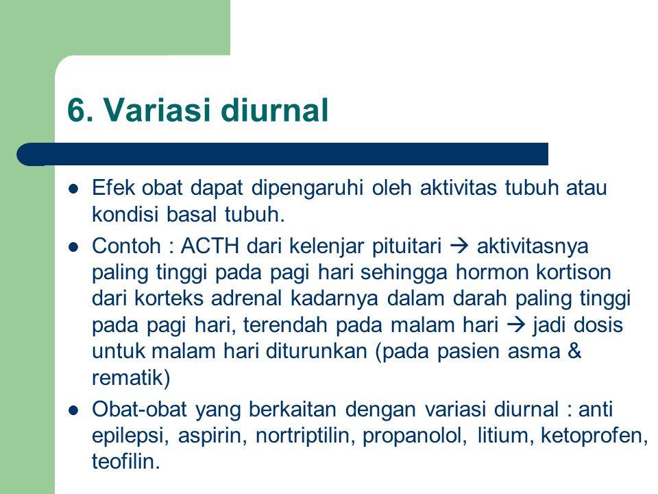 6. Variasi diurnal Efek obat dapat dipengaruhi oleh aktivitas tubuh atau kondisi basal tubuh.