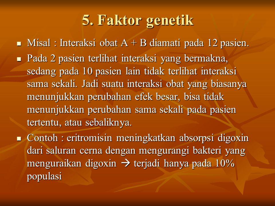 5. Faktor genetik Misal : Interaksi obat A + B diamati pada 12 pasien.
