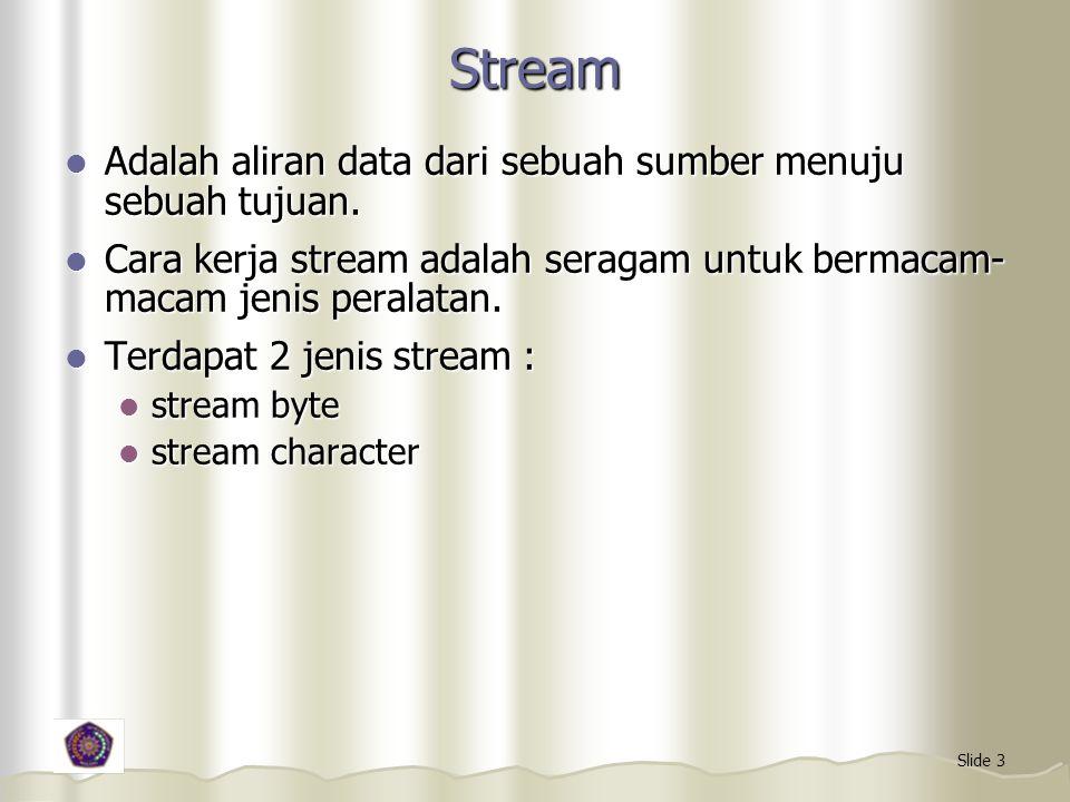 Stream Adalah aliran data dari sebuah sumber menuju sebuah tujuan.