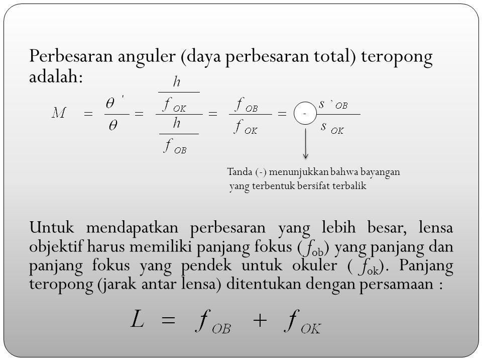 Perbesaran anguler (daya perbesaran total) teropong adalah: