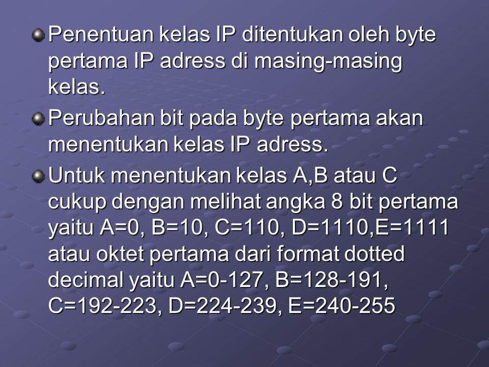 Penentuan kelas IP ditentukan oleh byte pertama IP adress di masing-masing kelas.