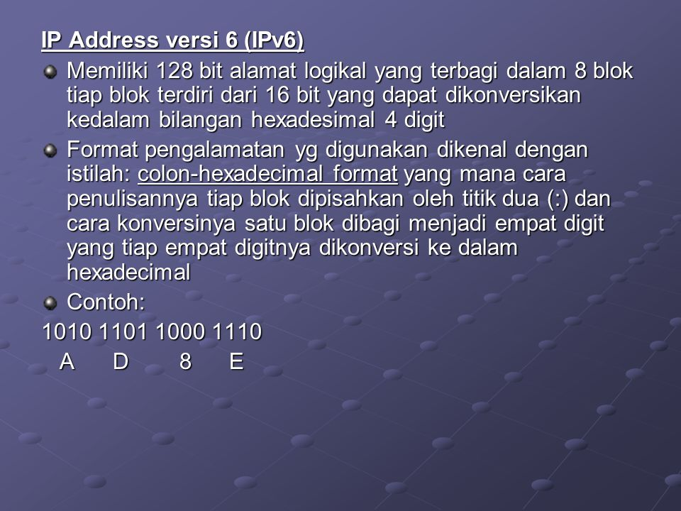 IP Address versi 6 (IPv6)