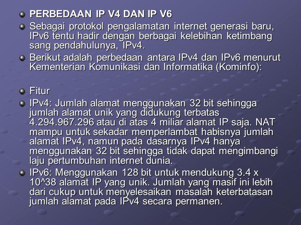 PERBEDAAN IP V4 DAN IP V6