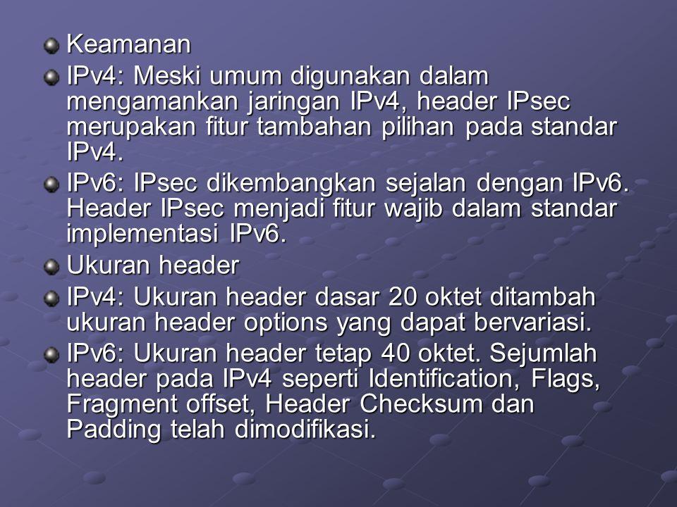 Keamanan IPv4: Meski umum digunakan dalam mengamankan jaringan IPv4, header IPsec merupakan fitur tambahan pilihan pada standar IPv4.