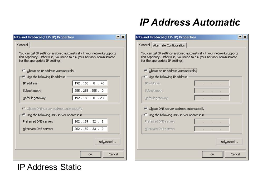 IP Address Automatic IP Address Static