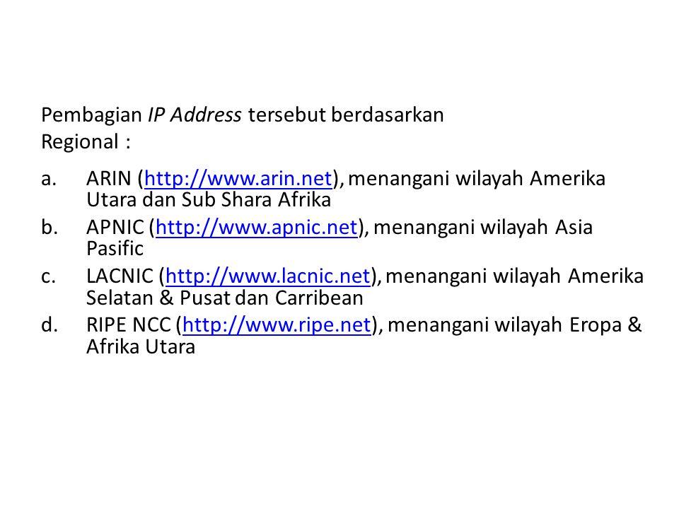 Pembagian IP Address tersebut berdasarkan