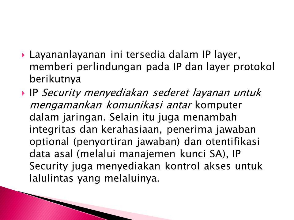 Layananlayanan ini tersedia dalam IP layer, memberi perlindungan pada IP dan layer protokol berikutnya