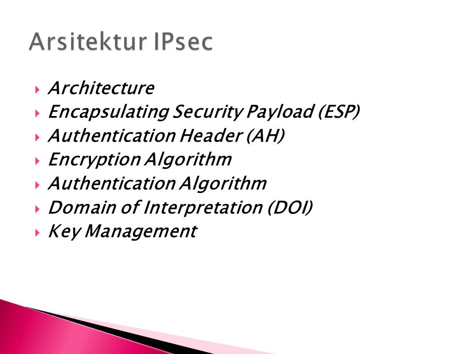 Arsitektur IPsec Architecture Encapsulating Security Payload (ESP)