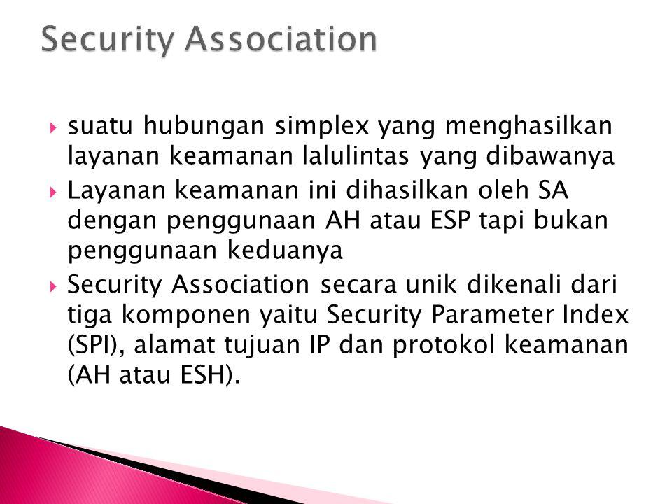 Security Association suatu hubungan simplex yang menghasilkan layanan keamanan lalulintas yang dibawanya.