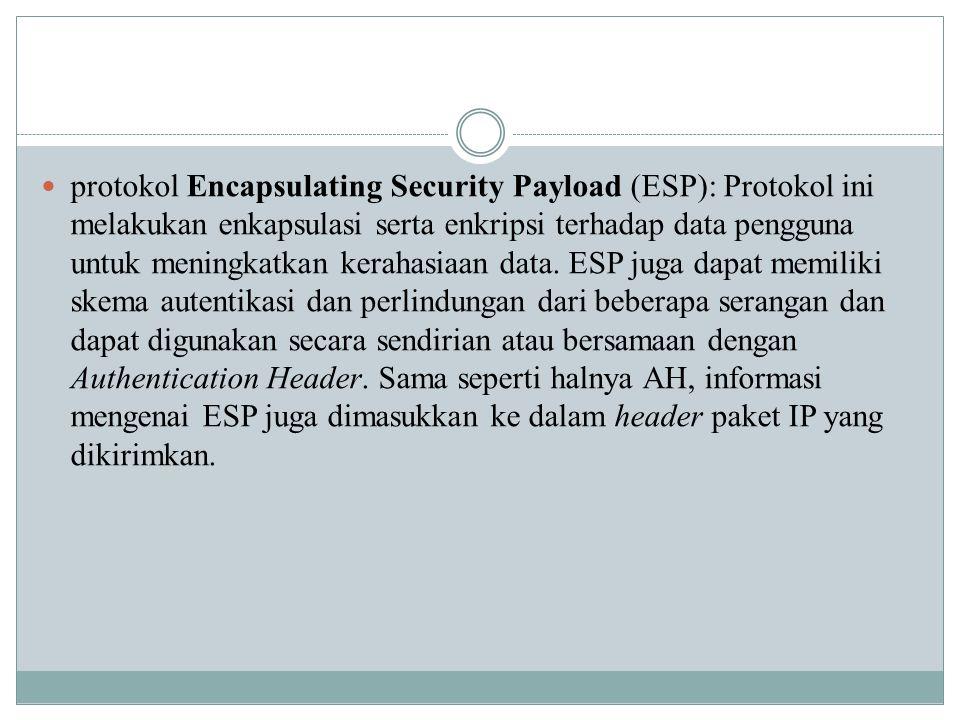 protokol Encapsulating Security Payload (ESP): Protokol ini melakukan enkapsulasi serta enkripsi terhadap data pengguna untuk meningkatkan kerahasiaan data.