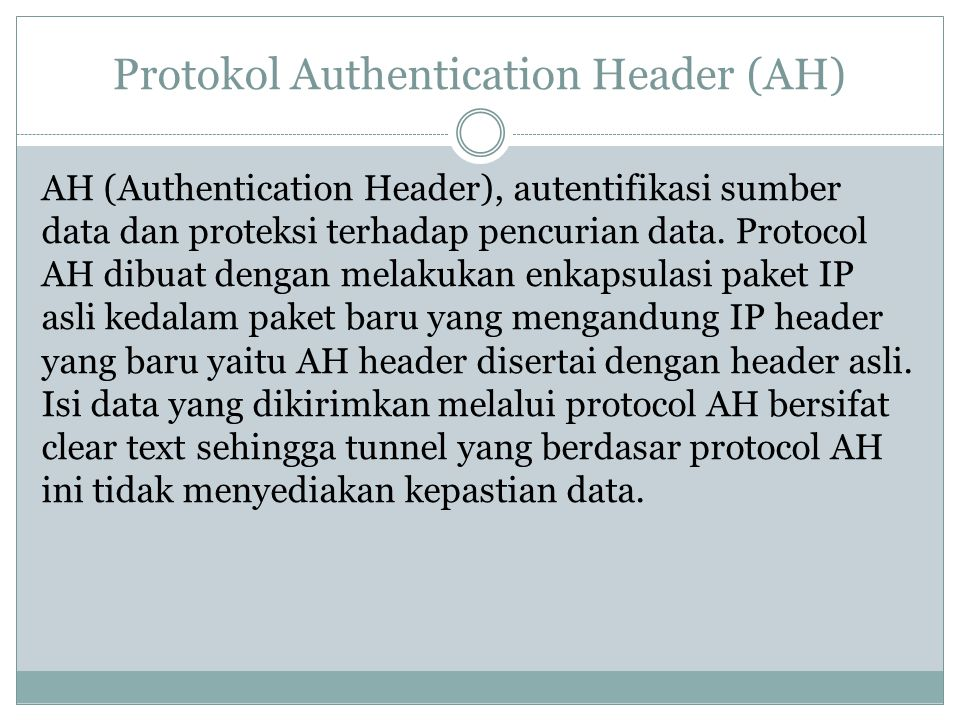 Protokol Authentication Header (AH)