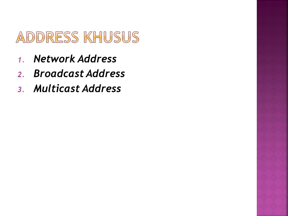 Address Khusus Network Address Broadcast Address Multicast Address