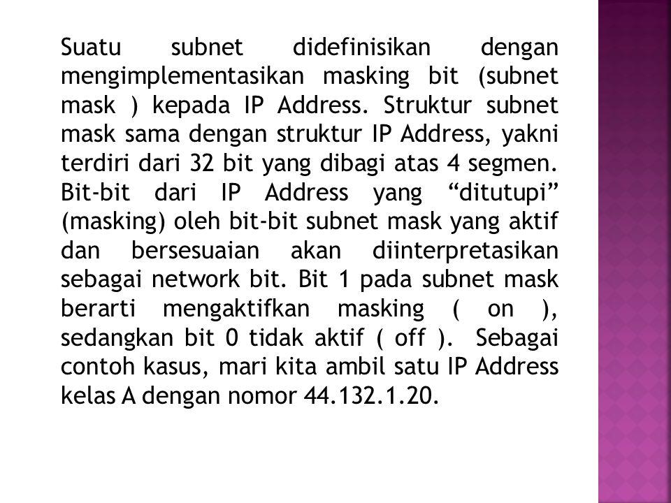 Suatu subnet didefinisikan dengan mengimplementasikan masking bit (subnet mask ) kepada IP Address.