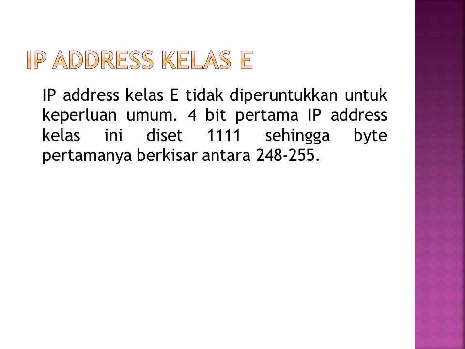 IP address kelas E
