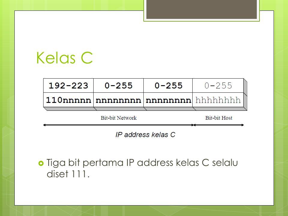 Kelas C Tiga bit pertama IP address kelas C selalu diset 111.