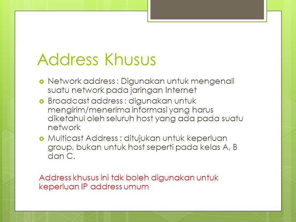 Address Khusus Network address : Digunakan untuk mengenali suatu network pada jaringan Internet.