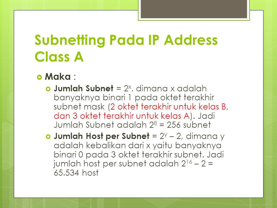 Subnetting Pada IP Address Class A