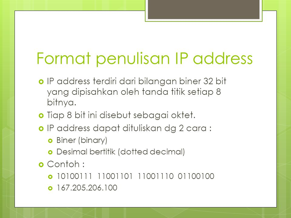 Format penulisan IP address