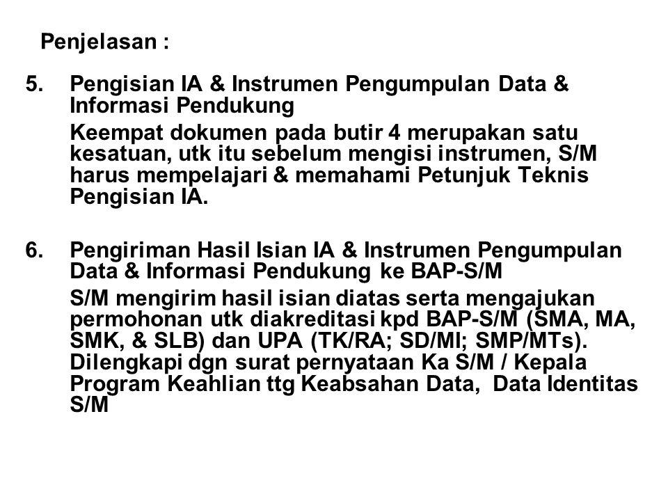 Penjelasan : 5. Pengisian IA & Instrumen Pengumpulan Data & Informasi Pendukung.