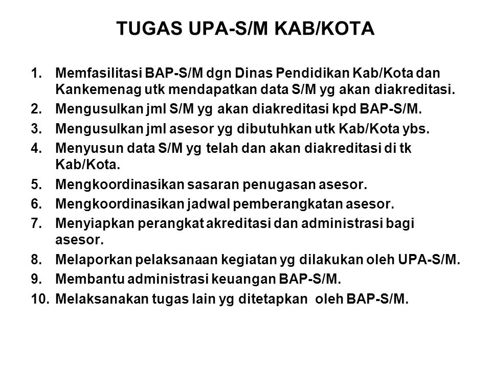 TUGAS UPA-S/M KAB/KOTA