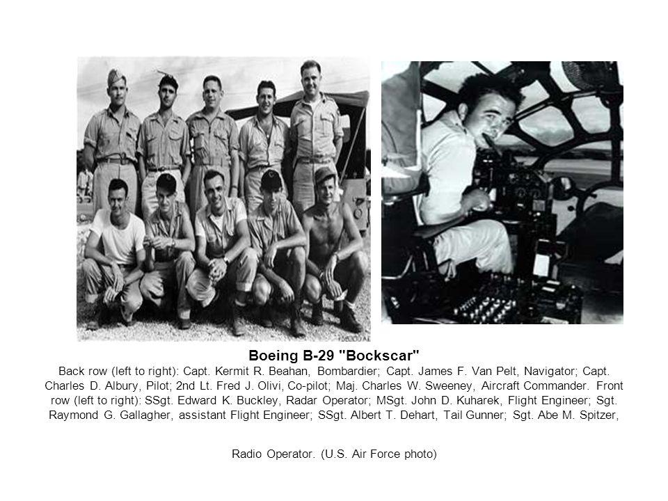 Boeing B-29 Bockscar Back row (left to right): Capt. Kermit R