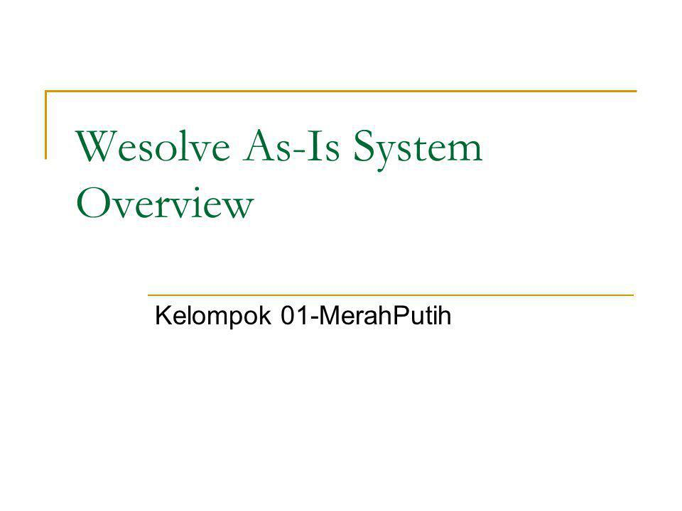 Wesolve As-Is System Overview
