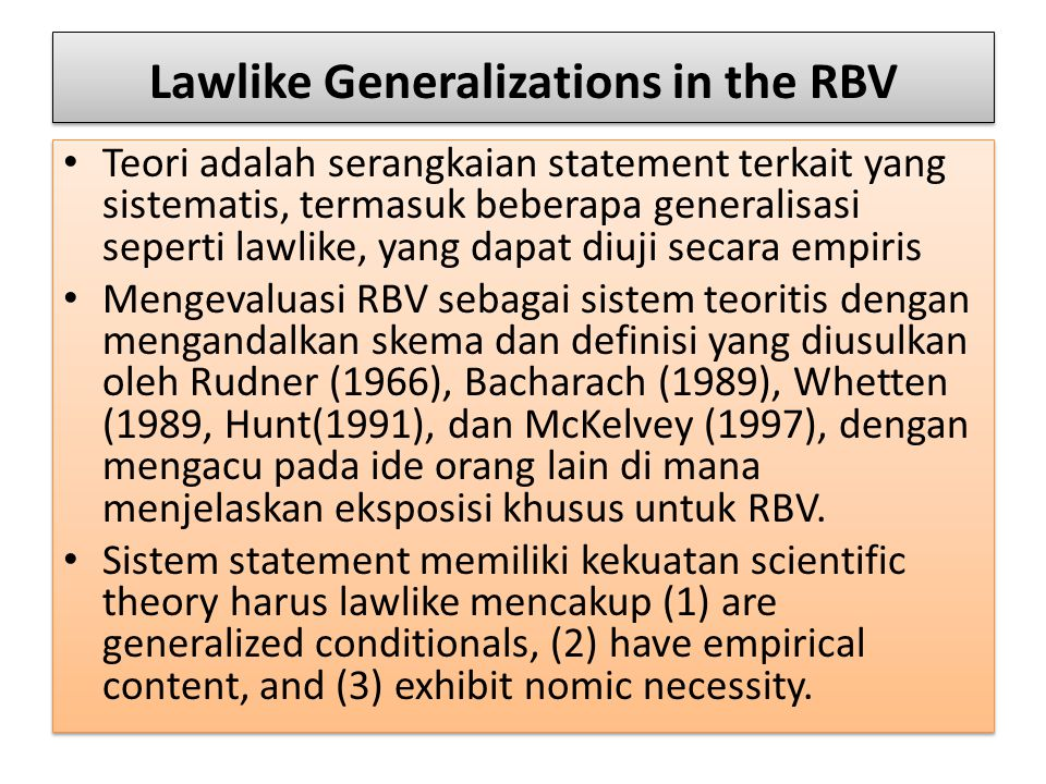 Lawlike Generalizations in the RBV