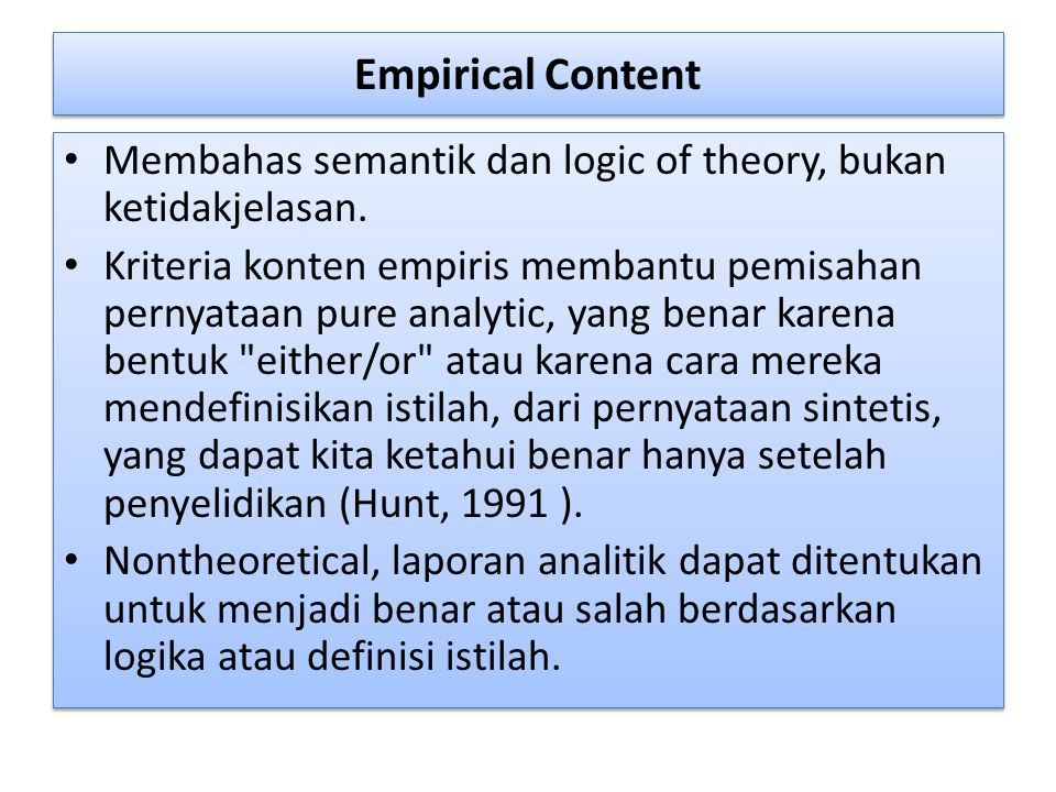 Empirical Content Membahas semantik dan logic of theory, bukan ketidakjelasan.